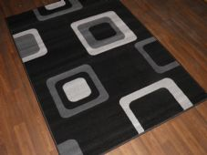 Modern Approx 6x4ft 120x170cm Woven Backed Black/Grey Sale Quality Squares Rugs